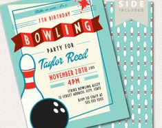Bowling Birthday Invitation Adult Pre Teen By Swishprintables