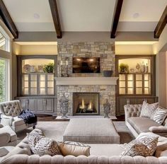 Rustic farmhouse living room decor ideas (11)