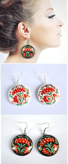 Boho Wooden earrings hand-painted jewelry por VivaArcenciel en Etsy