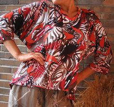 Crazy Zebra Orange Red BATWING SHIRT Viscose by TALLhappyCOLORS