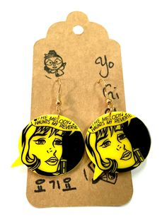 Comic Book Girl Yellow Charm Earrings by YogiYoAccessories on Etsy Comic Book Girl, Comic Books, Funky Earrings, Charmed, Comics, Trending Outfits, Yellow, Unique Jewelry, Handmade Gifts