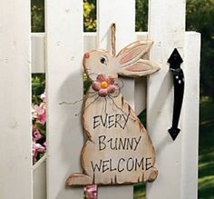 """Adorable Easter Or Spring """"every Bunny Welcome"""" Wooden Front Door Or Gate Sign"""
