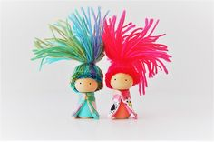 Woodland Troll Babies Set Of 2 - Wooden Peg Dolls - Zooble - Unique Gift - Neon Pink by Zooble on Etsy https://www.etsy.com/listing/504603203/woodland-troll-babies-set-of-2-wooden