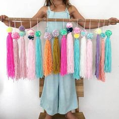 This handmade is the cutest! It's perfect for hanging from honeycomb balls, on a bookshelf, or as everyday playroom or living room décor! Each pom tassel measures approximately 12 14 Pom Pom Crafts, Yarn Crafts, Diy And Crafts, Crafts For Kids, Arts And Crafts, Felt Crafts, Sewing Crafts, Decoration Shop, Decorations