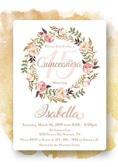 17th Birthday, Birthday Parties, Floral Invitation, Invitations, Sweet Fifteen, Party Cakes, Quinceanera, Flamingo, Rsvp