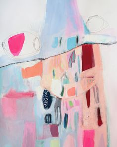 ABSTRACT painting, fine art, giclee print, white, blue, pink, red, modern painting,
