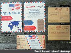 wedding air mail | Airmail Wedding Invitation, Evening Invitation & RSVP Stationery set