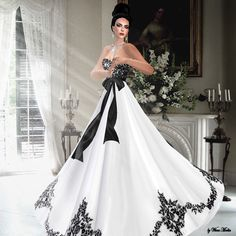 lace black n white wedding dresses | adriana is a beautiful black white gown the black ornaments