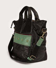 BD503 Handbags & Accessories: Handbags This back is calling to me! The colors and the extra strap did it! Catalina is soft black leather with front and back panels of mint green leather, burgundy piping and gold dome studs.