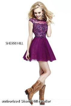 Sherri Hill style 21032. Short dress with heavily beaded and sequined bodice, cap sleeves and open back. Skirt has small pleats. Worn by Disney's Zendaya Coleman and on Dancing with the stars! $450 @Sherri Levek Hill #sherrihill #prom2014 #promdresses prom dresses prom dress  FaceBook Pinterest