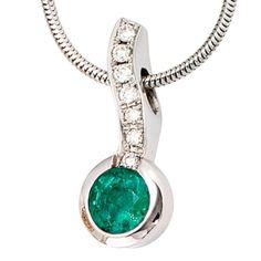 Dreambase Damen-Halskette mit Anhänger 7 Diamant-Brillanten 18 Karat (750) Weißgold 0.14 ct. 1 Smaragd 42 cm Dreambase http://www.amazon.de/dp/B0097PEUKK/?m=A105NTY4TSU5OS