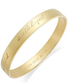 I need this for my wedding day, gold and everything! kate spade new york Gold-Tone Happily Ever After Bridal Idiom Bangle Bracelet - Fashion Jewelry - Jewelry & Watches - Macy's