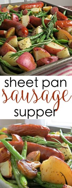 Here's a sheet pan dinner recipe with roasted vegetables and sausage. It's an all-in-one meal idea for busy weeknights that is easy to make and delicious, too. easy recipe in one pan