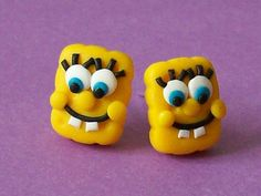 spongebob stud earrings polymer clay fimo by CreationsbyMD on Etsy, $4.00