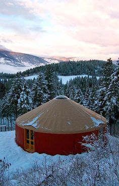 We live in a mountainous place, with snow and our dream is a yurt. This is it, right here.