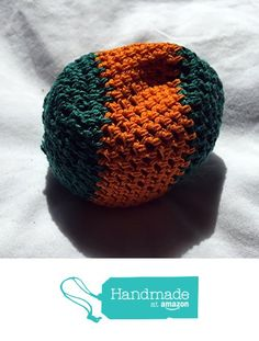 Green with Orange Stripe Hand Crocheted Footbag 8x7.5 Inch from Southern Women…