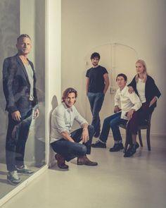 Saint-Laurent cast, for Next-libération Photo credits : Yann Rabanier > From left to right : Jérémie Renier, Gaspard Ulliel, Louis Garrel, Bertrand Bonello, Aymeline Valade