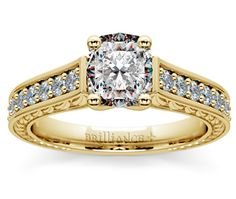 Cushion Antique Floral Diamond Engagement Ring in Yellow Gold  http://www.brilliance.com/engagement-rings/antique-floral-diamond-ring-yellow-gold-1/2-ctw