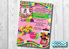 Candy Land Birthday Invitation by MellysHandmades on Etsy 1st Birthday Party Invitations, 1st Birthday Parties, Birthday Party Decorations, Candy House, Ornaments Design, Candy Land, Candy Party, Best Part Of Me, Thank You Cards