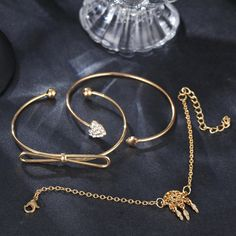 Elegant Cuff Bracelets Chain Dream Net Bowknot Crystal Heart Fashion Multilayer Bracelet for Women Fashion Bracelets, Cuff Bracelets, Korean Fashion Casual, Pendant Earrings, Bracelet Sizes, Body Jewelry, Jewelry Watches, Women Jewelry, Chain