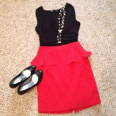 F21 red peplum skirt. Forever 21 beautiful lined red peplum skirt. Every woman should own a red shirt or dress in their wardrobe and this one is perfect!! Size S, zipper back and small slit in back. Excellent condition and smoke free home. Forever 21 Skirts Mini