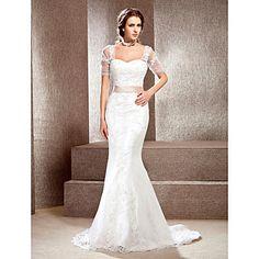 trombita / sellő off-the-váll kápolna vonat csipke esküvői ruha – USD $ 176.99
