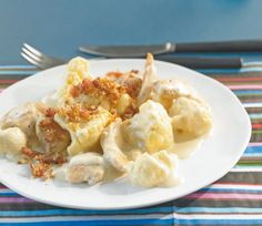 Senfblumenkohl mit Hähnchen - ohne Semmelbrösel und dafür mit Bacon (mind. doppelte Menge) und auch etwas mehr Blumenkohl