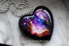Unique Gift for Her Galaxy Nebula Necklace Glitter by isewcute