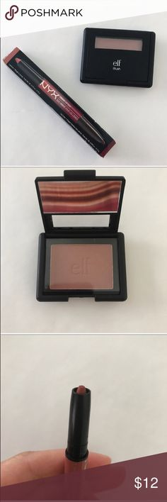 Elf Blush & NYX Ombré Lip Duo E.l.f. Blush - Mellow Mauve. Blush adds the look of a natural flush to your cheeks. Powder perfect for sheer coverage. Built-in mirror lets you keep your makeup looking fresh while on the go.   NYX ombré lip duo - Cinnamon & Spice. Dress your pout in two-toned style with our Ombré Lip Duos. Lip duo features two coordinating shades of lip liner and satiny matte lipstick to create the perfect ombré pout.  💕Offers welcome on single items and on bundles💕 🛍 15%…