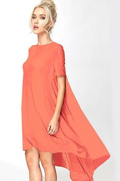 Lunch in Paris High Low Swing Dress - Coral