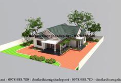 Bản vẽ thiết kế nhà cấp 4 mái thái đẹp tại Cát Bà