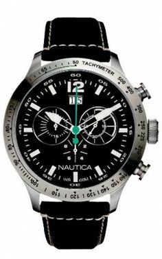 d6d58ce5838 Relógio Nautica Men s N19560G BFD 101 Chronograph Black Dial Black Leather  Watch  relogio  Nautica