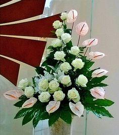 Altar Flowers, Church Flowers, Funeral Flowers, Wedding Flowers, Deco Floral, Arte Floral, Unique Flower Arrangements, Memorial Flowers, Flower Festival