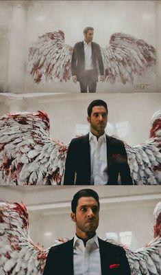 Tom Ellis as Lucifer Morningstar on Lucifer. The Devil does indeed wear Prada ; Lauren German, Netflix Series, Series Movies, Grey's Anatomy, Lucifer Wings, Vampire Diaries, Tom Ellis Lucifer, Fangirl, Morning Star