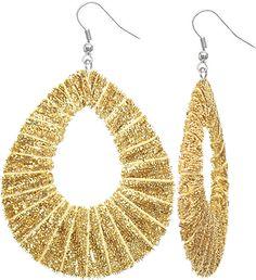 Gold Glitter Fabric Wrap Teardrop Dangle Earrings - Candy Luxx
