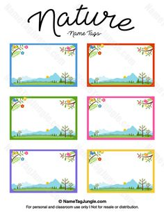 Free Printable Nature Name Tags The Template Can Also Be Used For Creating Items Like