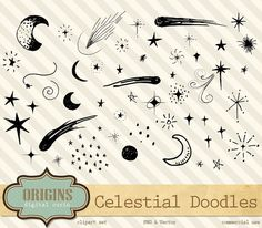 Celestial Clipart - Moon and Stars Doodle Clip Art for Commercial Use, Outer…