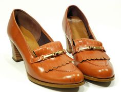 vintage fringed loafers - stacked wooden heel sexy librarian style! by jetsetvintage
