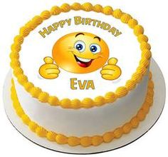 Smile Face Edible Birthday Cake Topper OR Cupcake Topper, Decor - Edible Prints On Cake (Edible Cake &Cupcake Topper) Edible Cake Toppers, Birthday Cake Toppers, Cupcake Toppers, Happy Birthday John, Emoji Cake, Buckwheat Cake, Edible Printing, Bowl Cake, Pecan Nuts