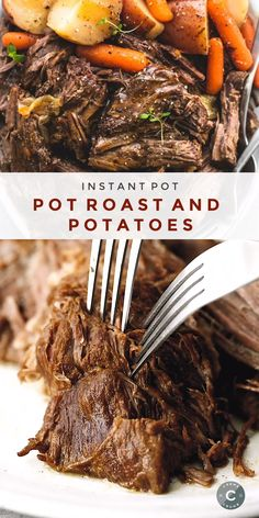 instant pot recipes Juicy and tender instant pot pot roast and potatoes with gravy makes the perfect family-friendly dinner. This easy one pot dinner recipe will please even the pic Crock Pot Recipes, Pot Roast Recipes, Cooking Recipes, Ninja Recipes, Juicer Recipes, Blender Recipes, Chicken Recipes, Best Instant Pot Recipe, Instant Pot Dinner Recipes