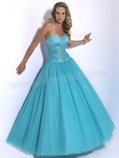 Turquoise A-Line Strapless Floor Length Organza Prom Dress With Sequins