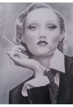 Marina Castellan: Marlene Dietrich - Diva di Hollywood - disegno a matita #MarleneDietrich