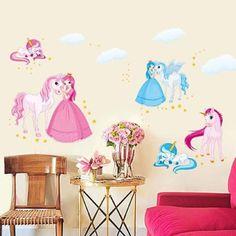Great Unicorn Wandtattoo Einhorn Wandaufkleber Prinzessin Wandsticker Kinderzimmer