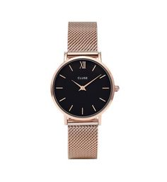 This ladies Cluse Minuit Mesh watch has a PVD rose plating case and is powered by a quartz movement. It is fastened with a rose metal bracelet and has a black dial. Daniel Wellington Classic Petite, Mesh Armband, Clusia, Couleur Or Rose, Gold Watches Women, Trendy Watches, Men's Watches, Ladies Dress Watches, Black Gold Jewelry