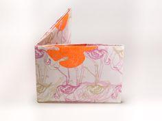 Wallet Set Tyvek Print Pattern Handmade CrispyWallet flamingo leafs neon pantone 804C