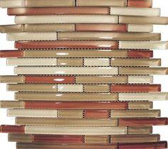 Sample- Red Brown Linear Beige Glass Mosaic Tile Kitchen Backsplash Bath Wall on eBay!