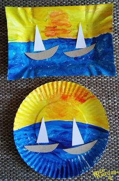 Paper plate boat scene - a fun craft for kids with movable boat. Paper Plate Crafts For Kids, Summer Crafts For Kids, Art For Kids, Sea Crafts, Fish Crafts, Beach Themed Crafts, Dinosaur Crafts, Daycare Crafts, Toddler Crafts