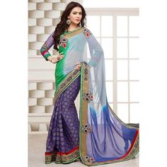 Buy Geetanjali Blue and Green Pure Net Georgette Printed Saree online in best price at Wholesale Hungama. Georgette fabric is used in this Blue and Green Colored Georgette Printed Saree. Bridal Anarkali Suits, Bridal Sarees, Patiyala Dress, Pure Georgette Sarees, Blue And Green, Purple Grey, Navy Blue, Latest Designer Sarees, Latest Sarees