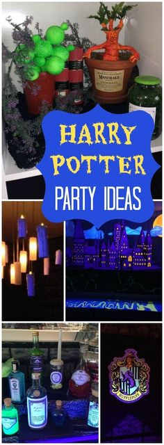 How cool is this Harry Potter blacklight party with a potions class! See more party ideas at CatchMyParty.com!