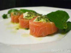 Receita Entrada : Terrine de salmão com creme de gorgonzola, pesto de menta e agri de Doni Nascimento